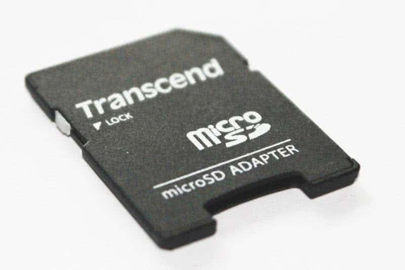 Schreibschutz an Micro SD-Adapter.