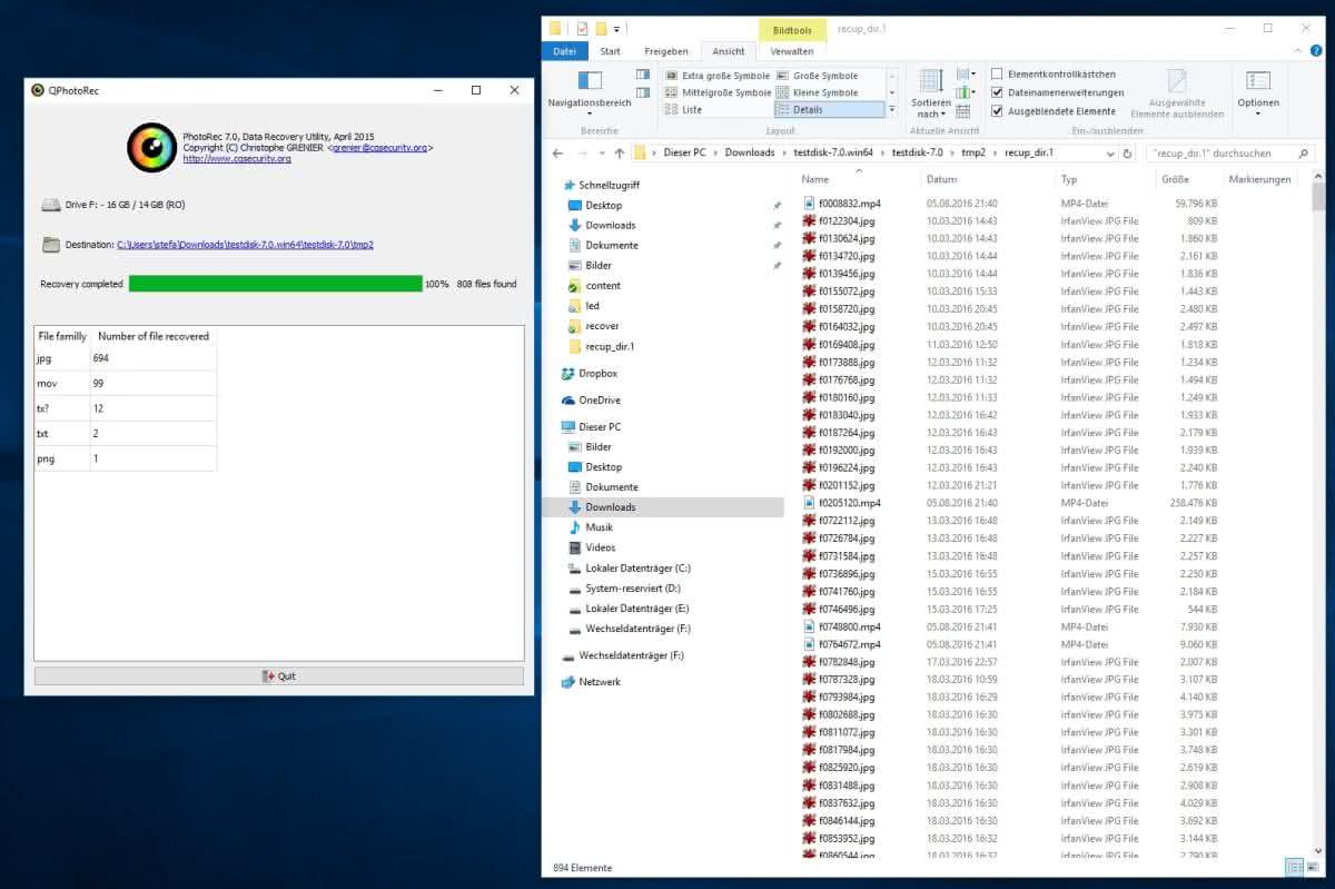 Micro SD Karte reparieren - QPhotorec_win.exe durchgelaufen